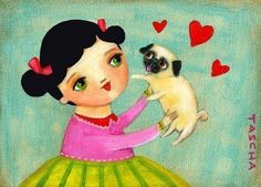 Pug Pictures And Prints | LOVE my PUG dog cute PRINT from painting by tascha by tascha
