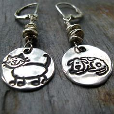 Silver Cat Dog Earrings PMC Artisan Jewelry Pet by staciejewelry, $55.00