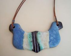 Ceramic jewelry, gorget necklace. Blue, cream, green, brown. Pottery necklace.