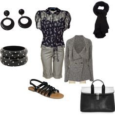 """Black and grey"" by willowtree24 on Polyvore ~ Long black slacks and more professional black shoes"