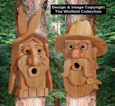 Cedar Cowboy & Indian Birdhouse Plans Uniquely shaped birdhouses are easy to make from layers of standard cedar boards and our plastic eyes. No painting required! #diy #woodcraftpatterns