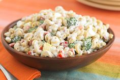 Macaroni salad gets an update with multi-grain pasta, reduced-fat ingredients, less mayo and fewer eggs. Funny, it goes as fast as the original.