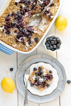 Blueberry Baked Oatmeal with Lemon & Coconut the perfect easy to assemble make ahead breakfast. Best of all, healthy, refined sugar, gluten & dairy free.
