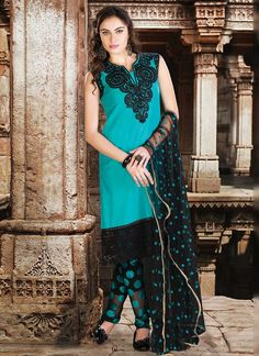 Appealing Blue Cotton Silk Embroidered Churidar Suit