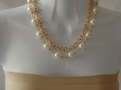 Bib Necklace Layered Pearl Necklace Link Chain and by stylelovers