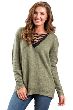 1a6817e5ba0 Olive Chic Long Sleeve Sweater with Lace up Neckline