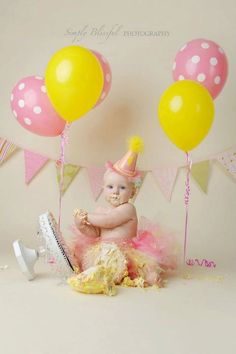 pink, yellow. cute first birthday picture