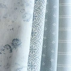 Light Blue curtains - Lakshmi ~ Bamburgh Blue on Ivory Linen. Light Blue Curtains, Curtains With Blinds, Roman Blinds, Blue Gray Bedroom, Light Blue Bedrooms, Curtain Fabric, Fabric Wallpaper, Blue Fabric, Linen Fabric
