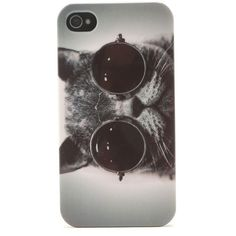 With Love From CA Cat Sunglasses 4/4S iPhone Case ($9.95) ❤ liked on Polyvore featuring accessories, tech accessories, phone cases, phones, iphone, fillers, grey, cat iphone case, with love from ca and iphone sleeve case