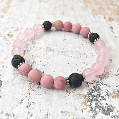 Excited to share the latest addition to my #etsy shop: Essential Oil Diffuser Bracelet, Lava Bead Aromatherapy Bracelet, Pink Gemstone Beaded Bracelet, Rose Quartz Diffuser Bracelet