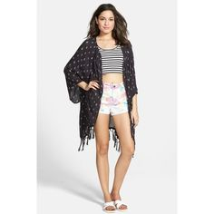 Junior Billabong 'Salty Wavez' Print Kimono ($65) ❤ liked on Polyvore