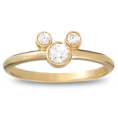 Diamond Petite Icon Mickey Mouse Ring -- 14 Karat Yellow Gold  $1,050.00