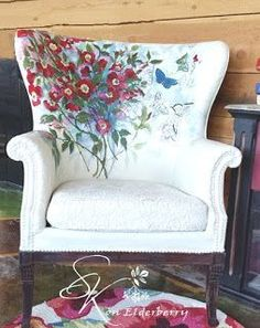 SK Sartell Painted Upholstery, chalk painted fabric #funkyfurniture