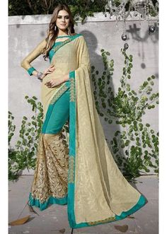 IVimal Green Colored Embroidered Chiffon Net Partywear Saree - 97034