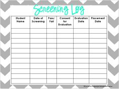 Speech Language Screening Log: I also keep a binder of speech and language screenings done. This is will come in handy when Johnny's new teacher writes a speech referral for him. You can look back to see if he was already screened or show the teacher that he was already evaluated and did not qualify.