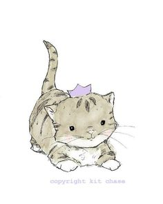 Nursery Art -- Royal Kitten -- Art Print