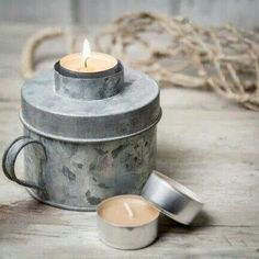 Zinc tea light holder