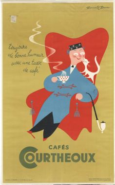 DONALD-BRUN-Vintage-1930s-CAFE-COFFEE-and-CAT-POSTER-24-x39-Linen-mounted