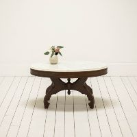 Traditional White Marble Coffee Table | Victorian Furniture | Wood and Marble Coffee Table l Birch & Brass Vintage Rentals | Weddings and Corporate Events | Austin, Texas
