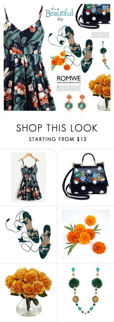 """""""Romwe : Leaf floral print dress"""" by viebunny ❤ liked on Polyvore featuring Dolce&Gabbana, Manolo Blahnik, Kate Spade, dress and romwe"""