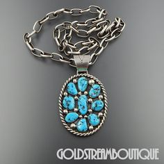 VINTAGE NAVAJO TOMMY MOORE & RICKY REEDER 925 SILVER TURQUOISE CLUSTER NECKLACE