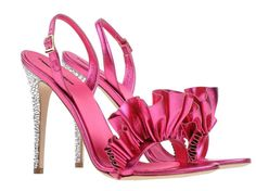 pink ruffle front high heel sandals