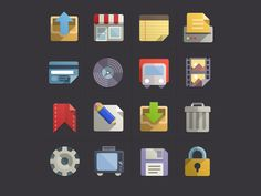 Flat Design Icons Set Vol 3 (PSD) - Designer First