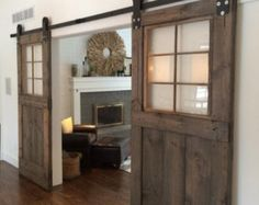 Vintage custom sliding barn door with windows by GoodfromWood