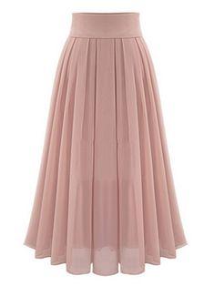 Buy Pink High Waist Overlay Chiffon Skirt from abaday.com, FREE shipping Worldwide - Fashion Clothing, Latest Street Fashion At Abaday.com
