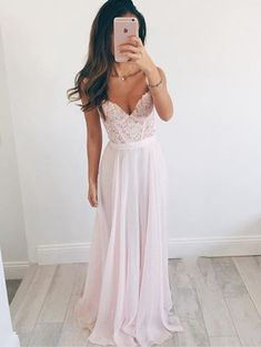 Spaghetti Straps Appliques Charming A-Line Prom Dresses,Long Evening Dresses,Prom Dresses ,Low cut dress