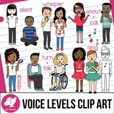 """This set of Voice Types/4 Voices Clipart includes 26 PNGs (13 color/13 line art) of a diverse group of kids that are perfect for teaching rules & routines, and different ways to use our voices. They are all high resolution, 300 ppi.Ok for small commercial/TpT use with credit.Includes Silent Voice (boy and girl) Whisper Voice (boy and girl) Speaking Voice (girl on phone, boy in chair and girl in wheelchair using 'turn and talk"""" or """"think, pair, share"""" Singing Voice (girl, girl with mic, bo..."""