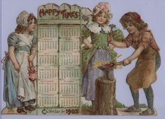 HAPPY TIMES CALENDAR FOR 1903. Vintage Calendar, Vintage Ephemera, Victorian, Happy, Times, Prints, Cards, Painting, Image