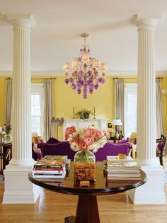 Chandelier framed by gorgeous pillars
