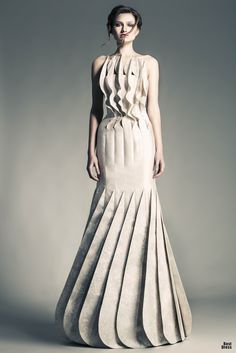 Sculptural Fashion - dress with statuesque silhouette and structured ripples & layers // Jean Louis Sabaji
