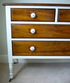 Painted dresser--I wonder if I could do this with my cheap old dresser and some veneer?