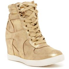 Top Guy Eric Wedge Sneaker ($30) ❤ liked on Polyvore featuring shoes, sneakers, gold, perforated shoes, wedge sneaker shoes, wedged sneakers, wedges shoes and lace up sneakers