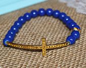 Royal Blue and Gold on Gold Rhinestone Sideways Cross Bracelet for Modern Style, Layering, Teens, Faith, Mother's Day, Easter, & Communion