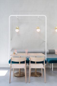 Biasol creates Melbourne cafe interior based on Greek delicatessens Restaurant Interior Design, Modern Interior Design, Interior Architecture, Commercial Design, Commercial Interiors, Cafe Restaurant, Cafe Bar, Modern Restaurant, Design Café