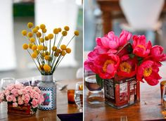 single type of flower in vintage/vintage-inspired tins