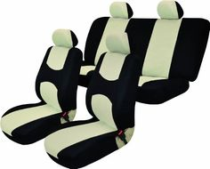$24.95-$49.99 Baby Universal Full Set OF Car Seat Covers - Black and Beige UAA002 - This complete Auto Interior Gift Set includes 2 bucket seat covers, 2 headrest covers and 1 bench seat cover (1 top and 1 bottom). The bucket seat covers are made from 100% Polyester material, and are designed to fit most low-backed bucket seats. It can be installed under the headrest on vehicles with removable h ...