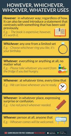 Whatever, whichever, whoever. Advanced English Grammar, English Grammar Rules, Learn English Grammar, English Writing Skills, Grammar And Vocabulary, English Idioms, English Phrases, English Language Learning, English Vocabulary