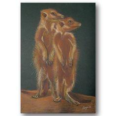 Two Meerkats soft pastel illustration Material Design, Moose Art, Web Design, My Arts, Pastel, Creative, Illustration, Painting, Animals