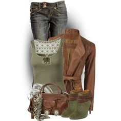 """""""Green & Brown"""" by colierollers on Polyvore"""