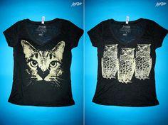 cat, plus, owl, gold, black vneck tee, burnout tshirt, 1aeon deal, plus size, combo, Owls and Cat on deep v burnout tops - 2XL