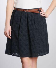 navy eyelet skirt for spring