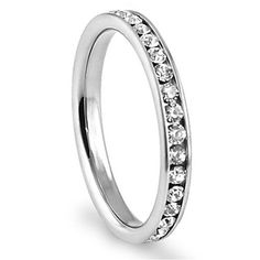 316L Stainless Steel White Cubic Zirconia 3mm Eternity Ring | eNew Style