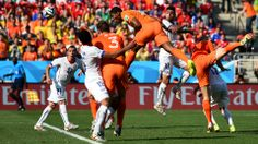 Leroy Fer of the Netherlands scores his team's first goal during the 2014 FIFA World Cup