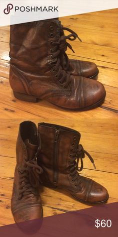 Steve Madden brown leather combat boots Steve Madden brown leather boots- worn only twice, in amazing condition! Steve Madden Shoes Combat & Moto Boots