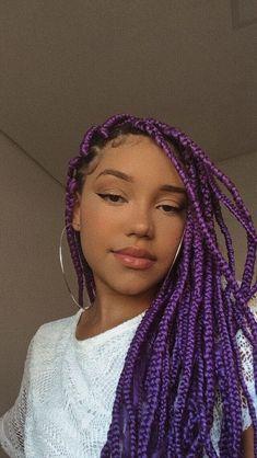 Black Box Braids, Purple Box Braids, Colored Box Braids, Short Box Braids, Black Girl Braids, Girls Braids, Cute Box Braids Hairstyles, Lemonade Braids Hairstyles, Braided Hairstyles For Black Women