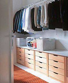 Drawers beneath clothes for closet storage Diy Closet, Drawers, Home, Closet Inspiration, Closet Designs, Closet Decor, Room Closet, Home Office Organization, Room Layout